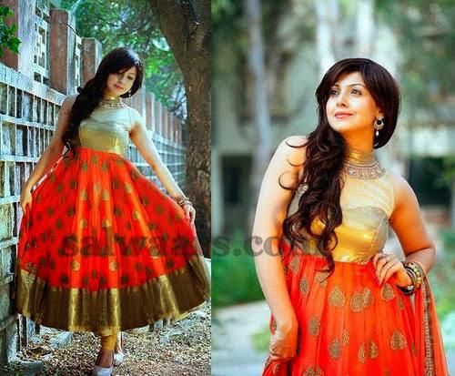 Benarasi Salwar in Orange and Gold