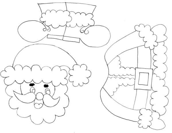 Pedagógiccos Papai Noel para montar - imagens de papai noel para colorir e montar