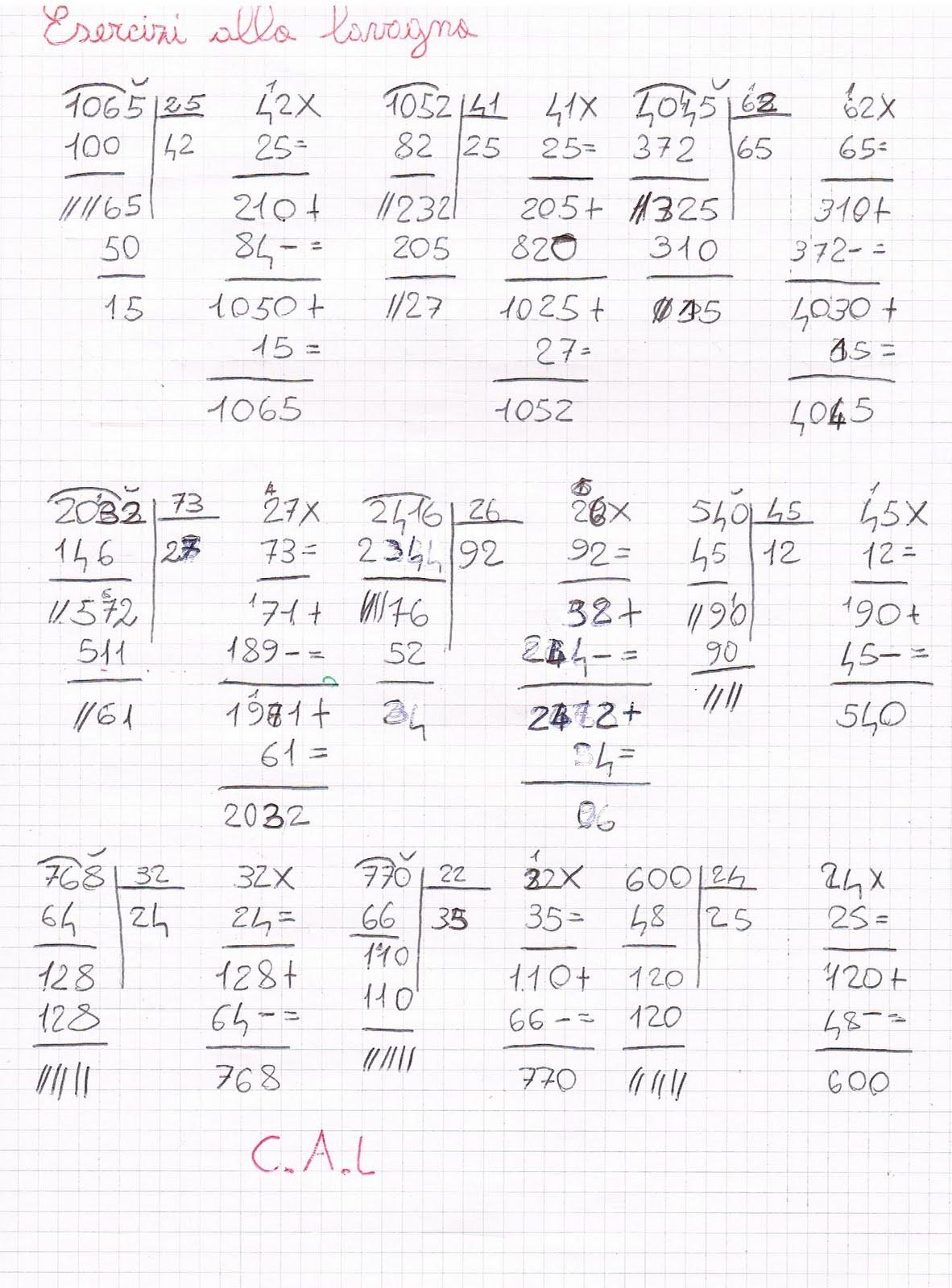 Estremamente Le divisioni con il divisore a due cifre SD07