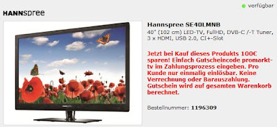 40 Zoll LED-TV Hannspree SE40LMNB bei ProMarkt.de für 299,99 Euro inklusive Versandkosten