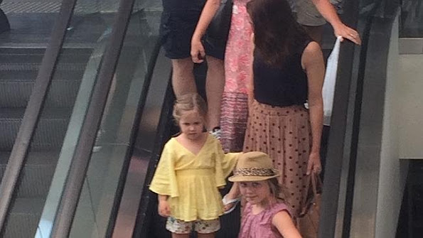 Crown Princess Mary of Denmark with daughters Princess Isabella and Princess Josephine of Denmark and Amber Petty at the Gold Coast in Marina Mirage shopping centre