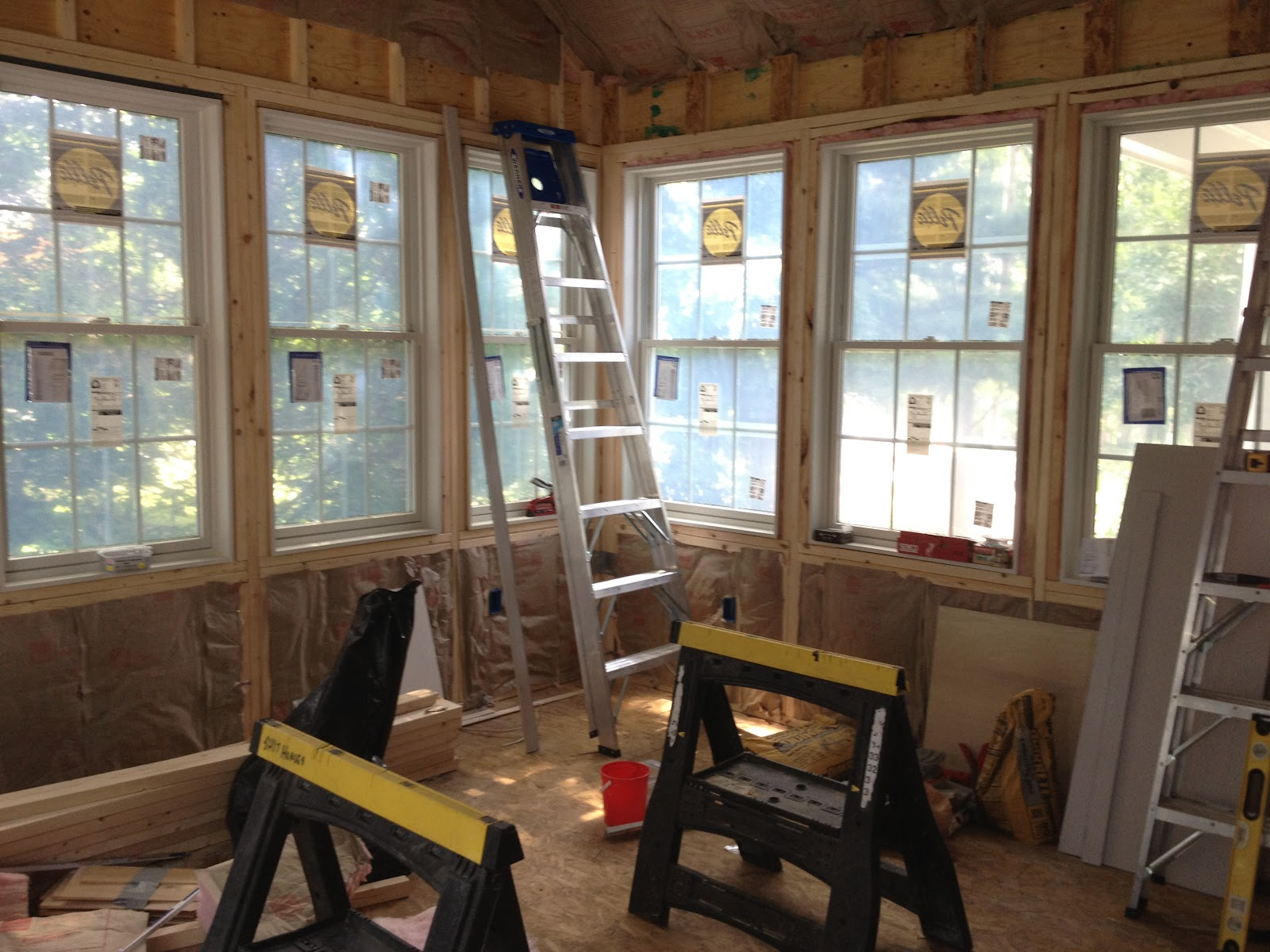 three season porch windows full length once the drywall is complete we will install bead board ceiling and trim out all of windows here are some progress photos oleary season room renovation insulation sign off