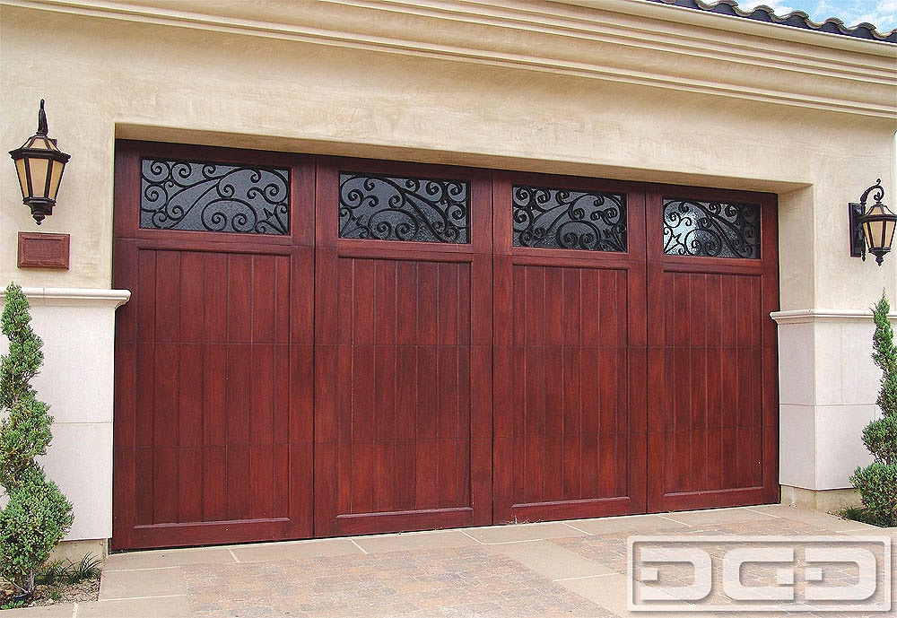 Mediterranean Garage Door With Iron Scroll Windows