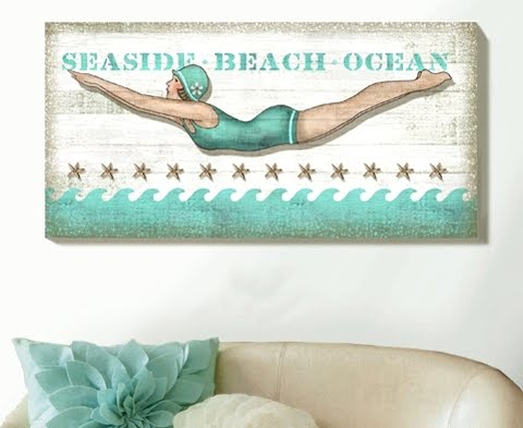 beach wall art diver girl