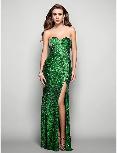 Vestido de Fiesta Verde con Lentejuelas