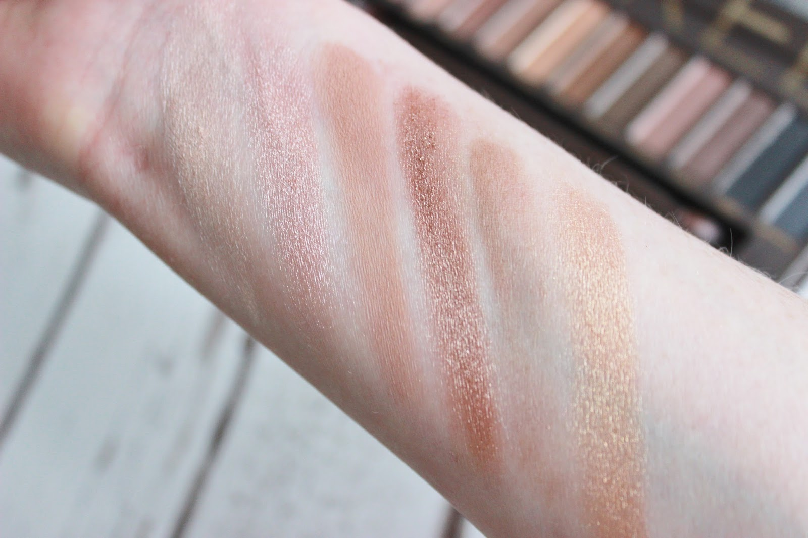Urban Decay Naked Palette close up swatches