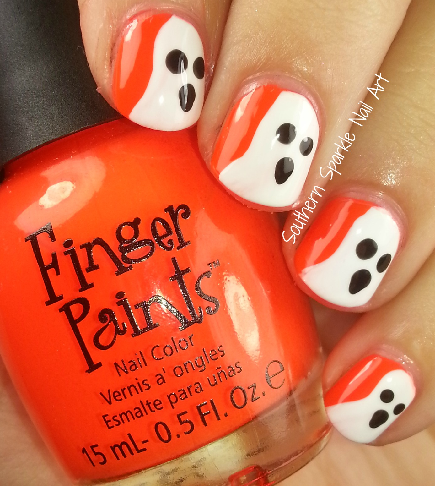 Southern Sparkle Nail Art No Tools Needed Halloween Nail Art Ghosts