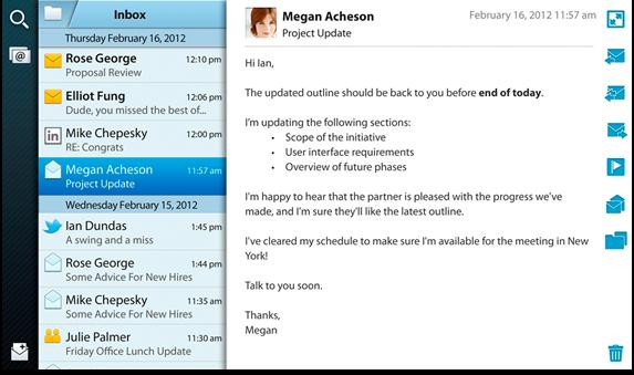 CIUDAD DE MÉXICO (CNNExpansión) — El correo electrónico hace su 'aparición' en las PlayBook de RIM, luego de que la compañía lanzó este martes una actualización que le permite recibir estos mensajes electrónicos de manera nativa. Anteriormente, si querías leer un e-mail desde esta 'tablet', necesitabas poseer un celular BlackBerry para enlazar ambos dispositivos. «Debo decir que las características que más me emocionan en este lanzamiento es el e-mail integrado, calendario y la agenda de contactos. Con esta actualización, ahora puedes manejar tus cuentas de mail en un buzón unificado», dijo David J. Smith, vicepresidente de cómputo móvil de Research