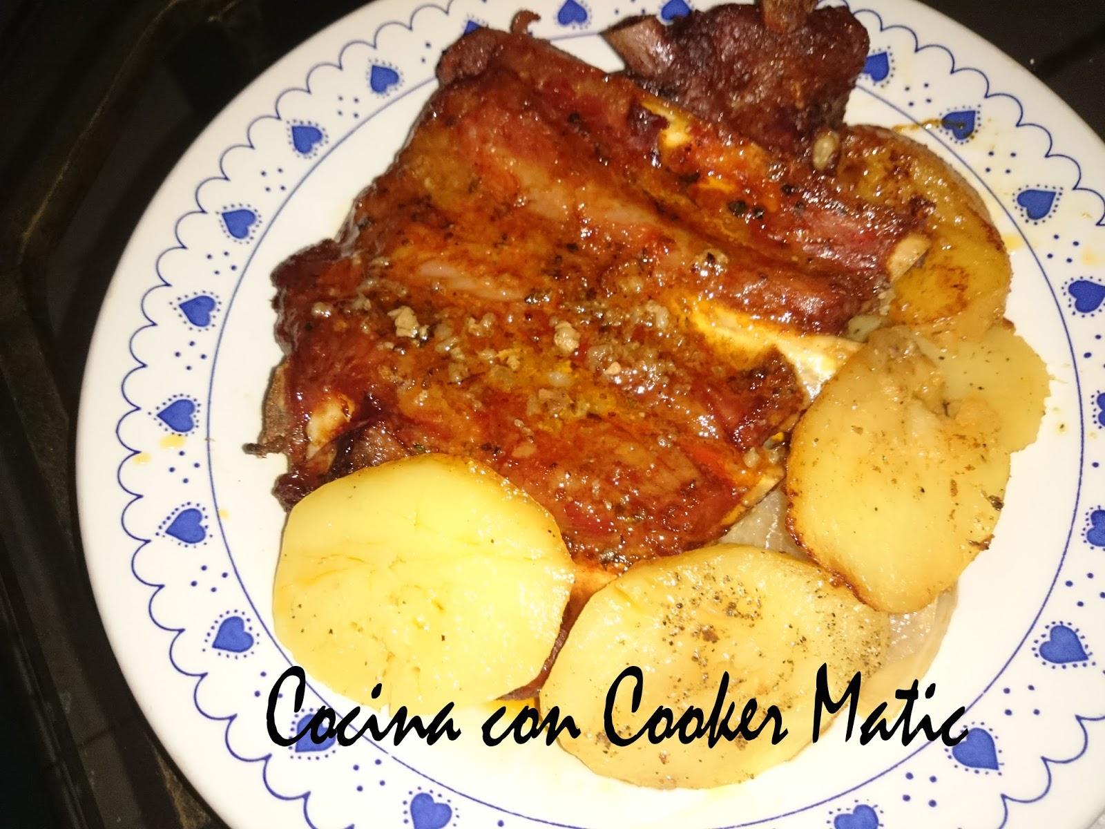 Cocina con cooker matic costillas de cerdo iberico al horno Solomillo iberico al horno
