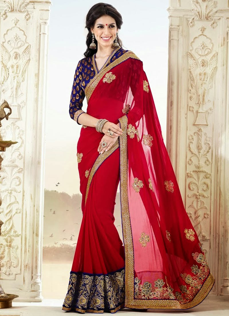 Bollywood Style Designer Embroidery Sarees Latest Fashion Today