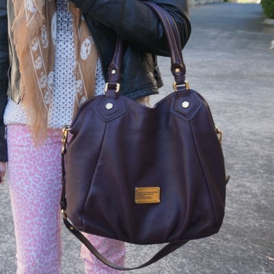 Pink leopard Print Jeans and Marc By Marc Jacobs Classic Q Fran bag in carob brown