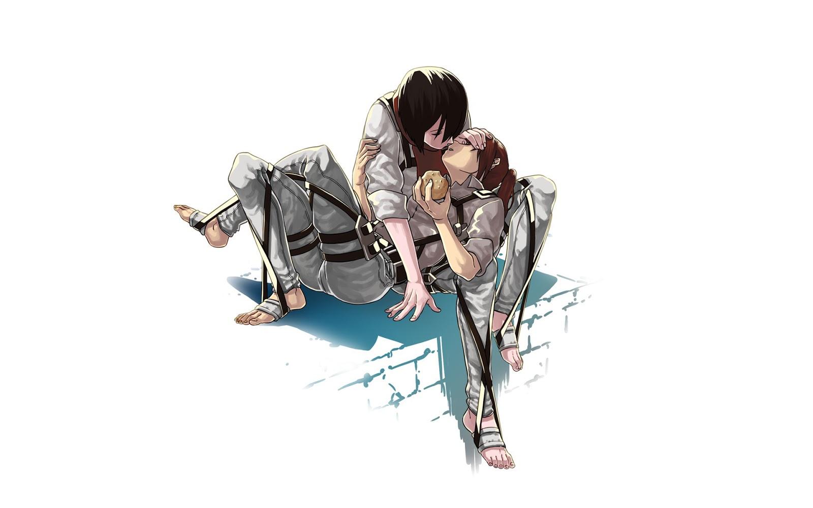 Untitled shingekinokyojin - Eren and mikasa wallpaper ...