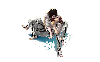 Mikasa Ackerman Eren Jaeger Kissing Attack on Titan Shingeki no Kyojin Anime HD Wallpaper Desktop PC Background 1819