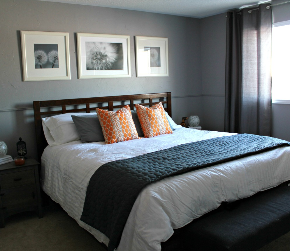 Turtles and tails master bedroom before and after for Yellow grey bedroom designs
