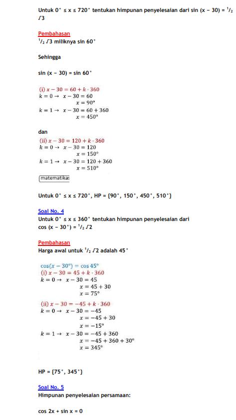 Rumus Persamaan Trigonometri Dan Contoh Soal Belajar