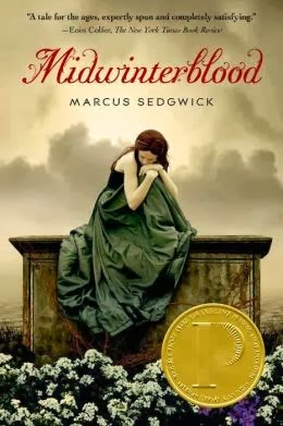 Book review of 2014 YA book award, Printz Book Award, medal winner.  Midwinterblood by Marcus Sedgwick is dark, mysterious, and completely fascinating.  Alohamora Open a Book http://alohamoraopenabook.blogspot.com/