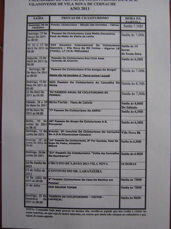 CALENDÁRIO DE PROVAS DO CICLOTURISMO DO VILANOVENSE-ÉPOCA DE 2011