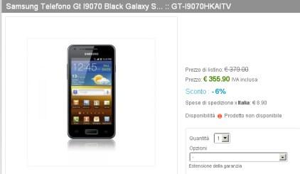Primi prezzi in Italia del nuovo smartphone dual core Samsung