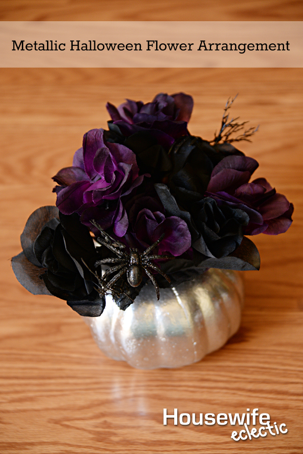 take a dollar store pumpkin and with a little paint you can have this gorgeous metallic