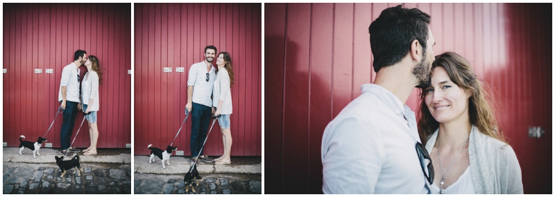 Engagement photography by red door
