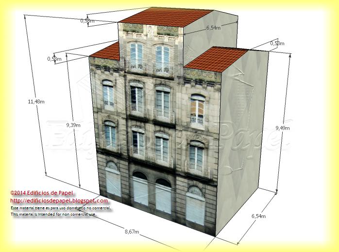 Free version of the paper model rear façade