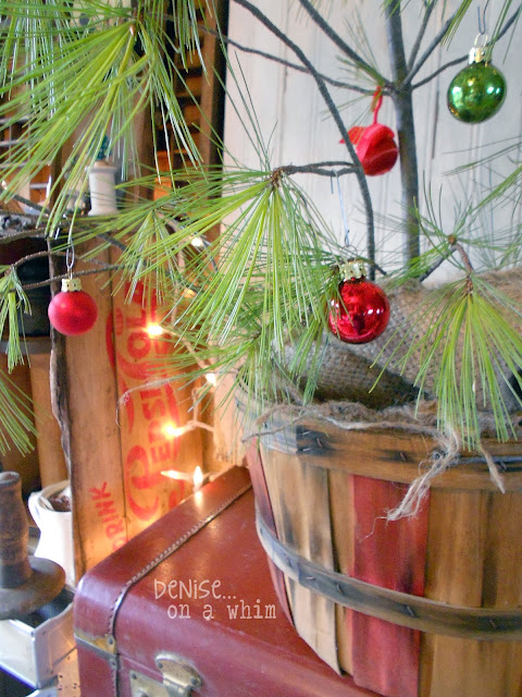Charlie Brown Tree in a Bushel Basket via http://deniseonawhim.blogspot.com