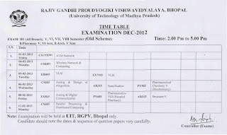 RGPV BE Timetable 2013