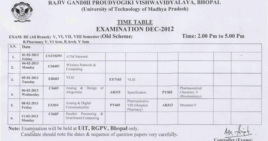 Rgpv be timetable 2013 for Rgpv timetable 7th sem 2015