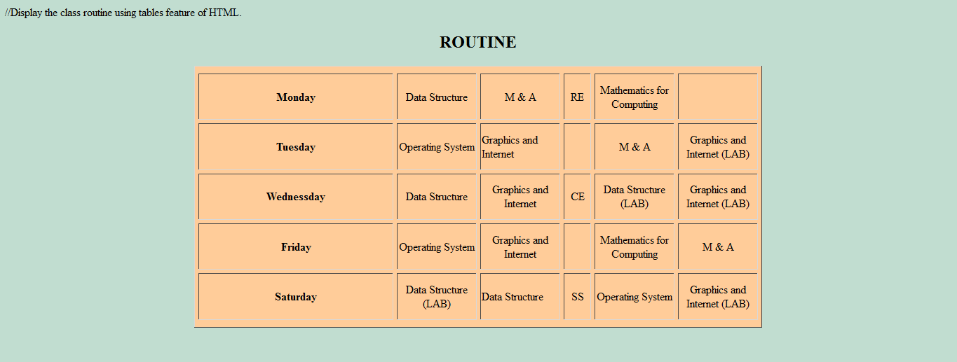 How to create class routine using table in html pages for Table th scope