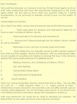 Ican Alfhabets (CN): Contoh-Contoh Surat Penawaran