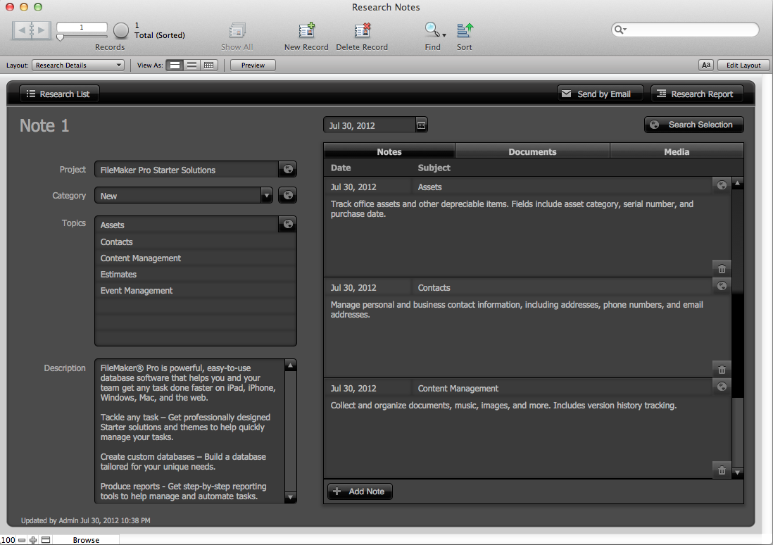 The Mac Office: Research Notes: FileMaker Pro 12 Starter Solution
