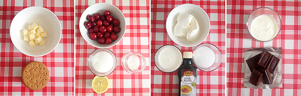 receta de cheesecake con cerezas y chocolate: ingredientes