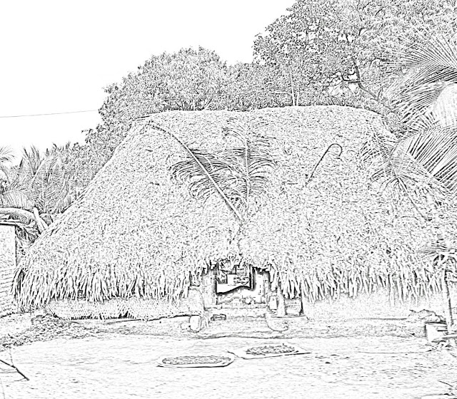 sketch of thatched hut