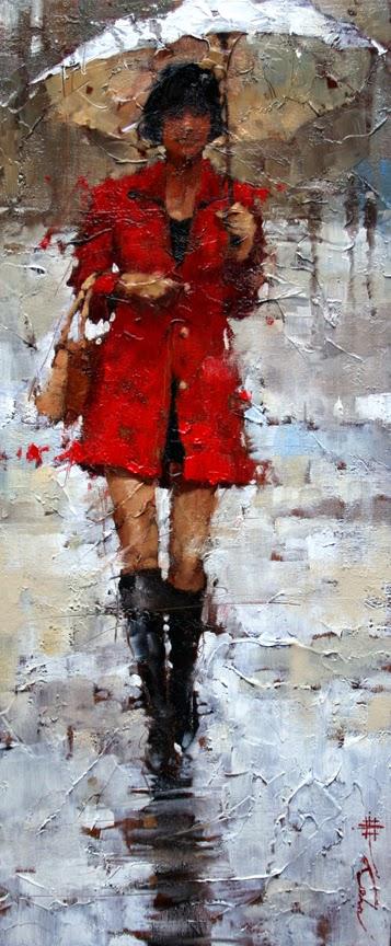 pintura com cores vermelha