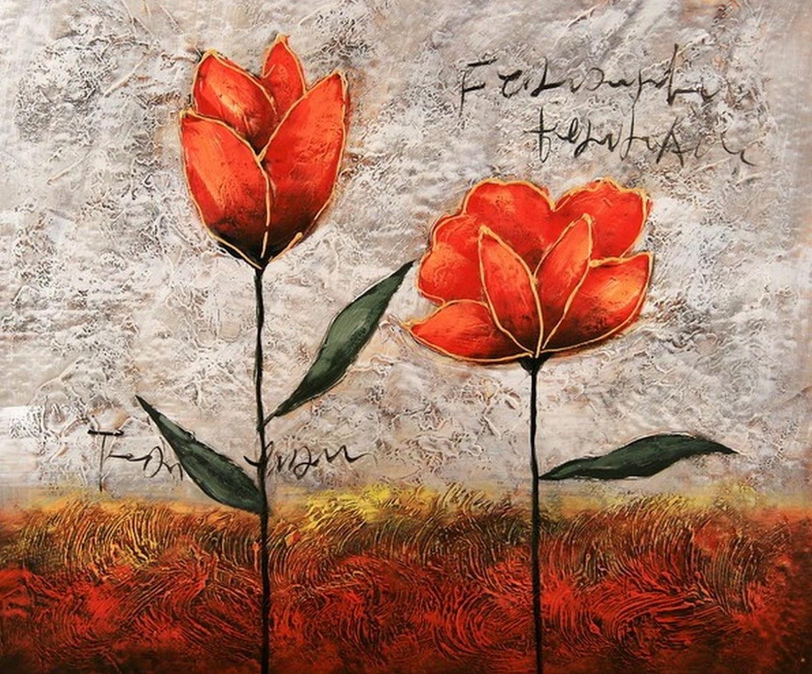 Pinturas cuadros lienzos arte abstracto con rosas for Imagenes de cuadros abstractos con relieve