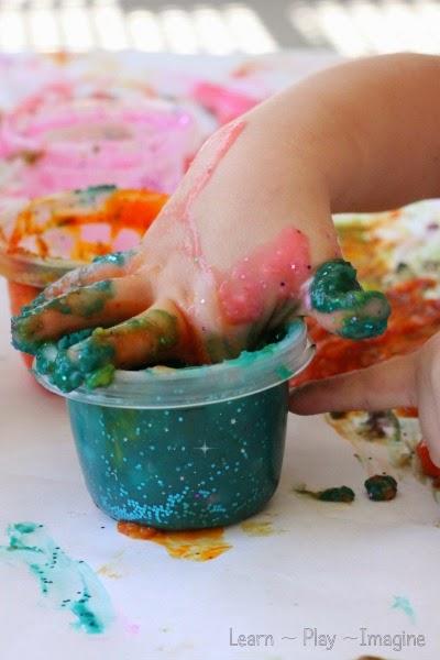 Simple finger paint recipe - bonus:  it sparkles!