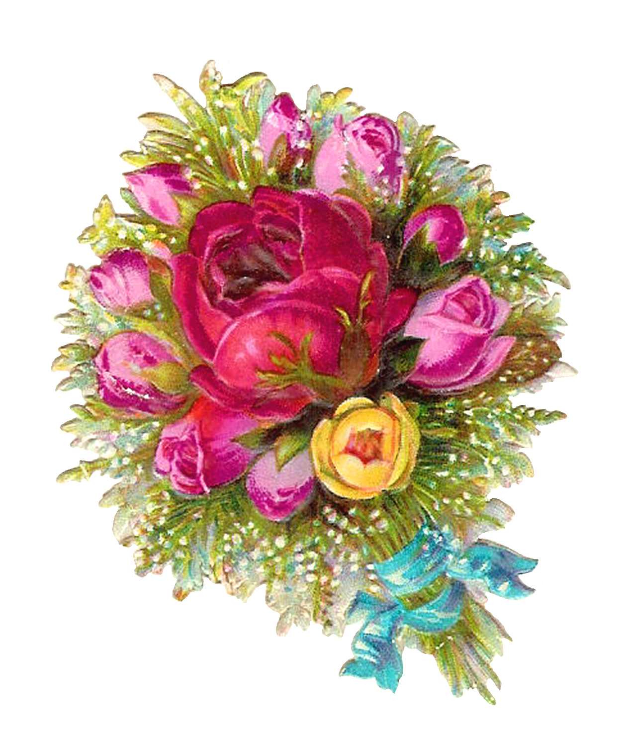Antique Digital Scrapbooking Flower Bouquet with Pink and Yellow Rose