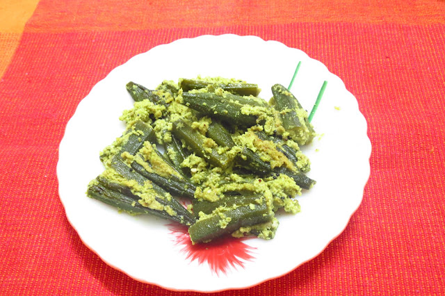 Stuffed Bhindi with green masala