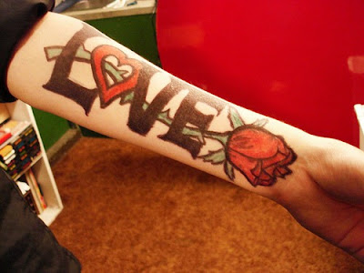 love tattoo with a rose