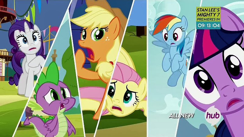 The other Mane Sixers and Spike, shocked at the Goof-Off announcement