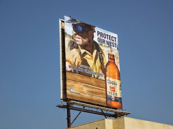 Coors Golden Beer Protect our west Wildland firefighters billboard