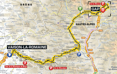 Mapa Tour de France 2013 Etapa 16. Vaison-la-Romaine / Gap
