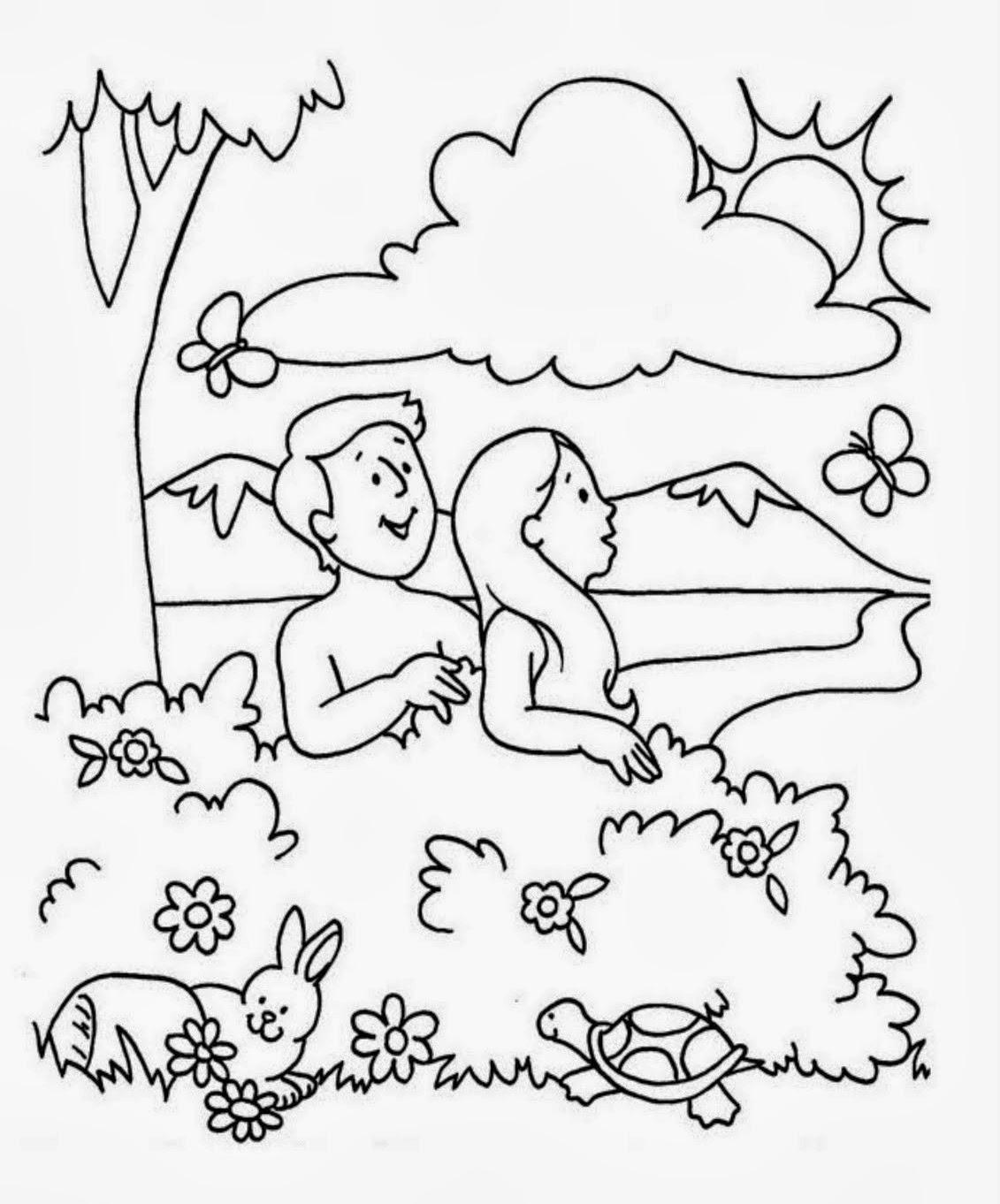 Bonito Adán Y Eva Para Colorear Para Niños Colección de Imágenes ...