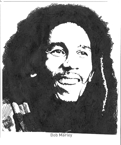 Pen & ink Bob Marley rendered by ©Ana Tirolese