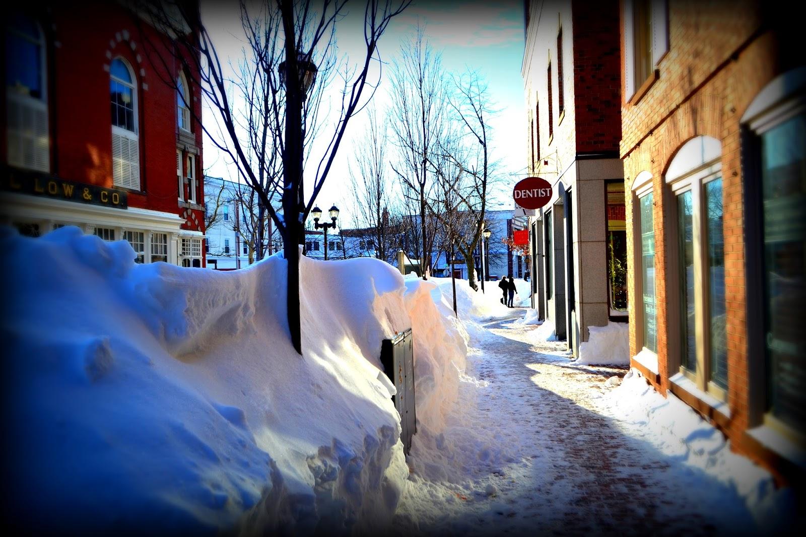 Snowbanks, Essex Street, Salem, Massachusetts, shadow