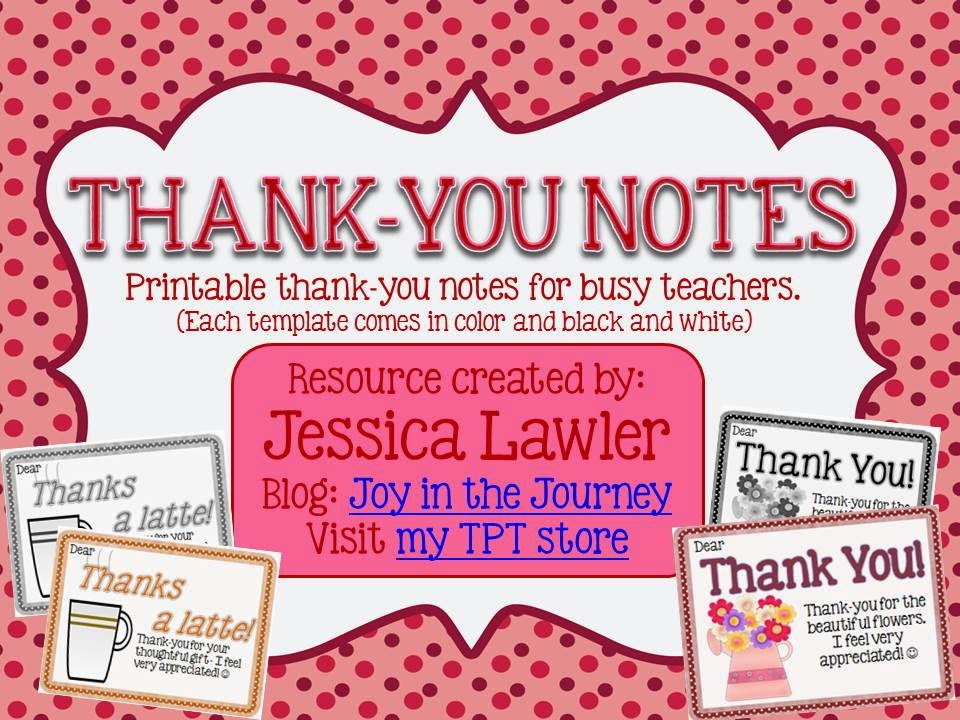 ThankYou Notes From Teachers To Students Freebie  Joy In The