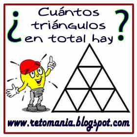 Retos matemáticos, Desafíos matemáticos, Problemas de lógica, Problemas para pensar, Descubre el número, Cuántos triángulos hay