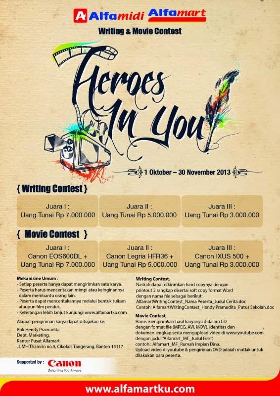 Poster Kontes Menulis dan Pembuatan Movie Dengan Hadiah Utama 7 Juta (Alfamart)