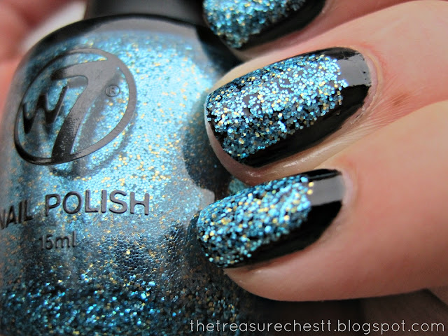glitter and black halfmoon framed half framed nails w7 cosmic blue swatch