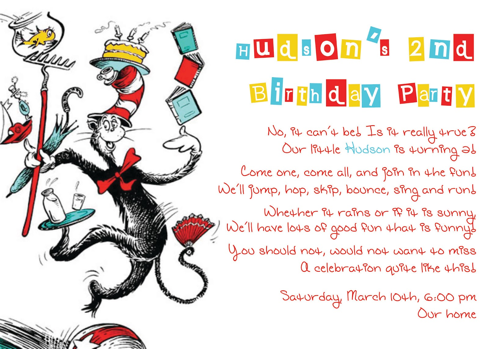 HDs Dr Seuss Themed 2nd Birthday Party – Dr Seuss Birthday Card